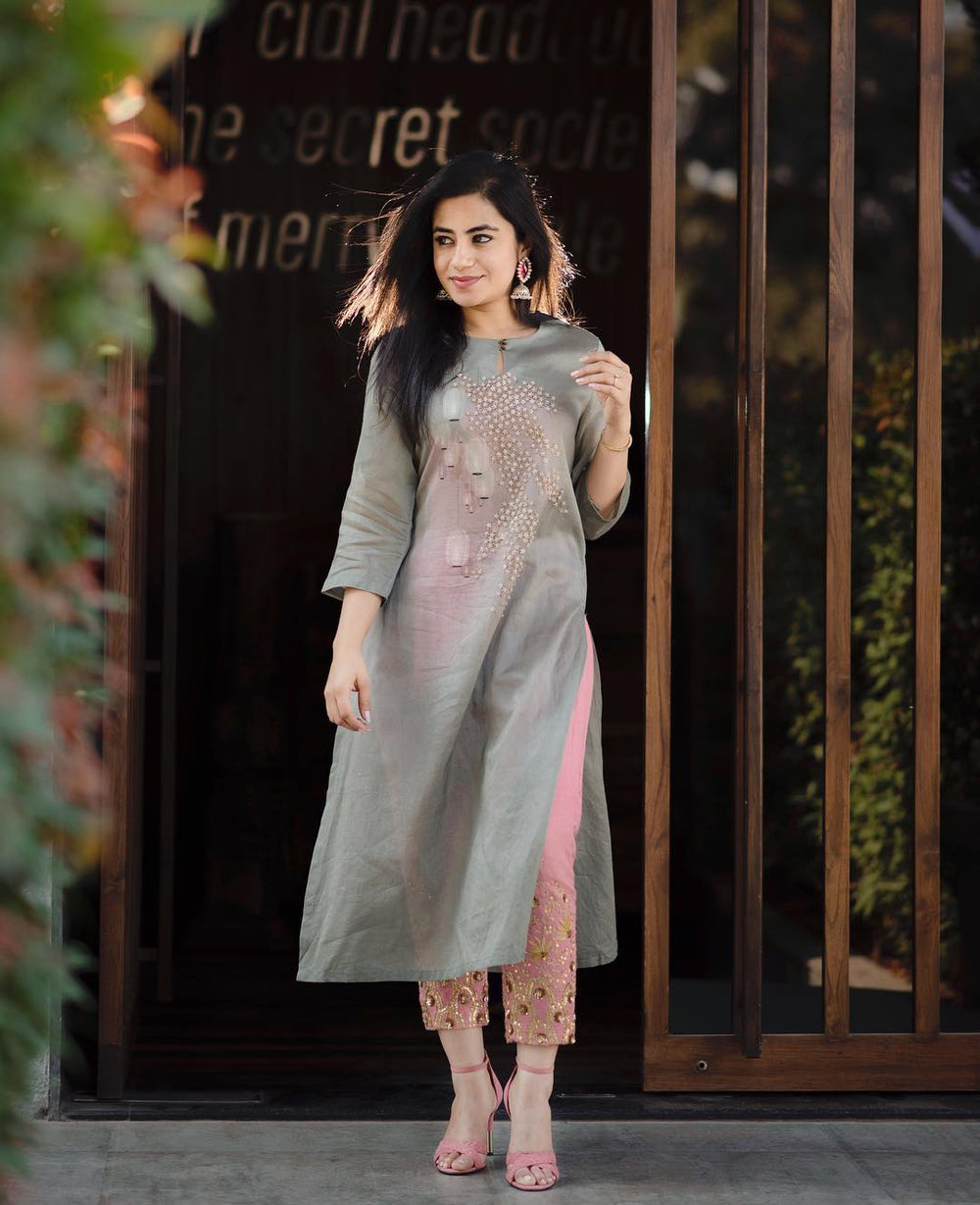 Embroidered Kurti With Crepe Silk Stitch Pant