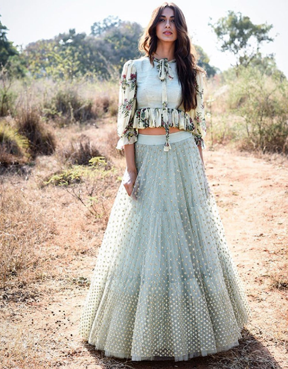 Pastel Gray Digital Lehenga