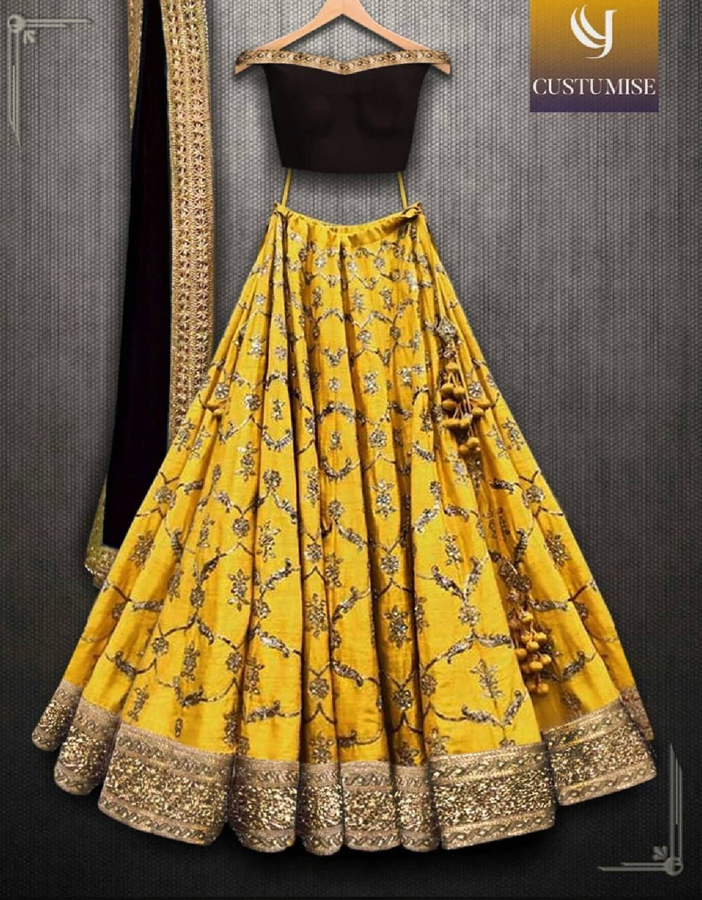 Sana Silk Yellow Color Embroidered Lehenga Choli