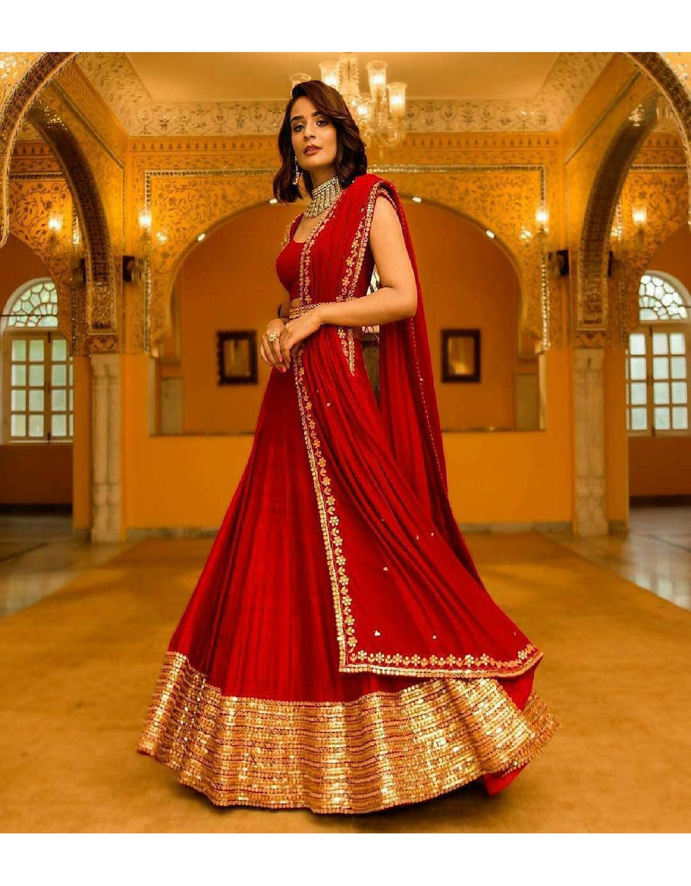 New Designer Lehanga Choli Georgette Silk
