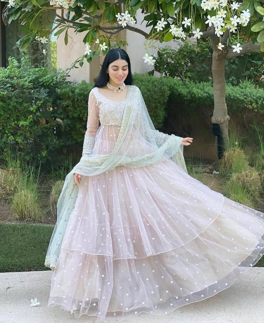 BUTTERFLY NET WITH EMBROIDERY WORK LEHENGA CHOLI