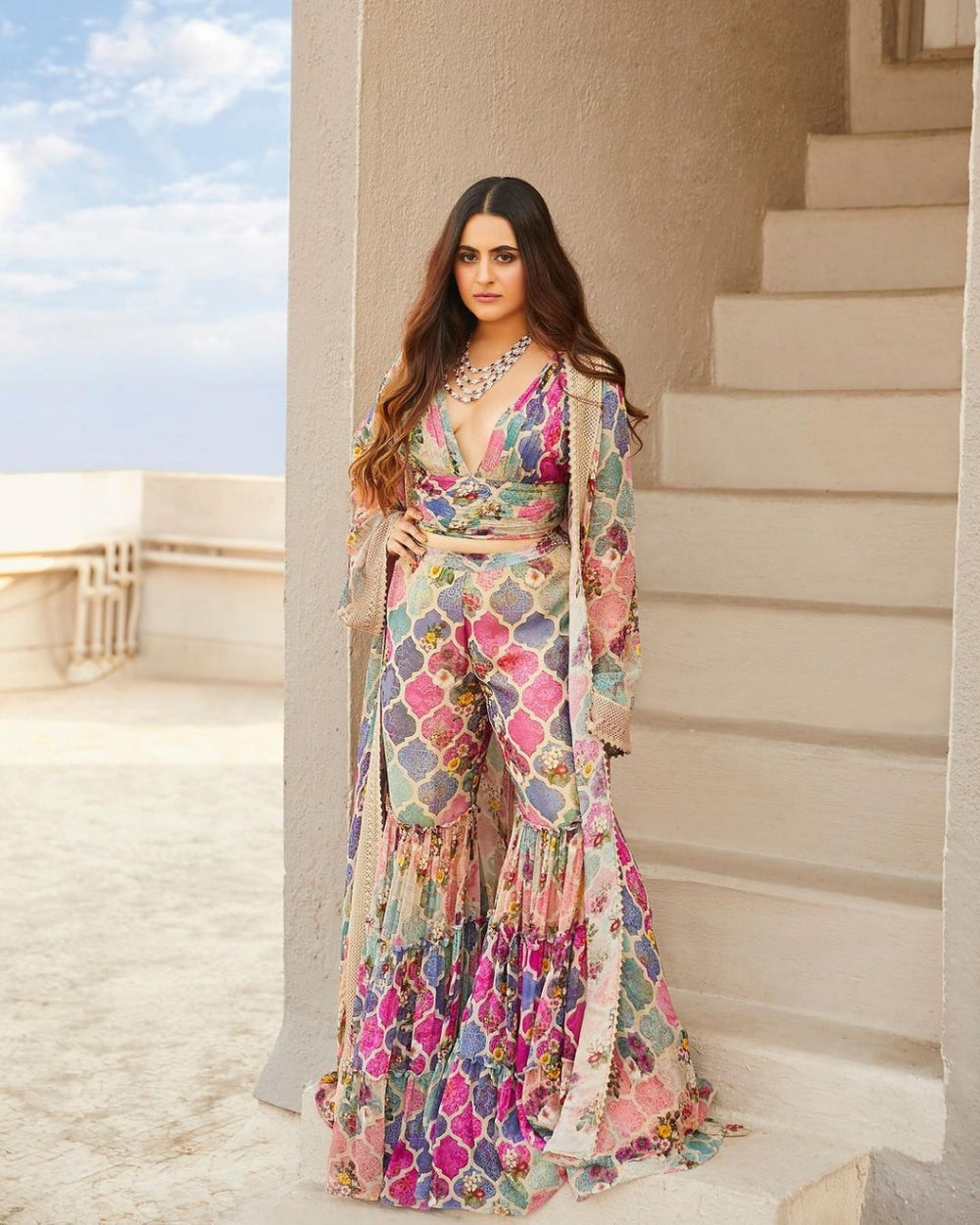NEW DESIGNER DIGITAL PRINT KOTI WITH SHARARA