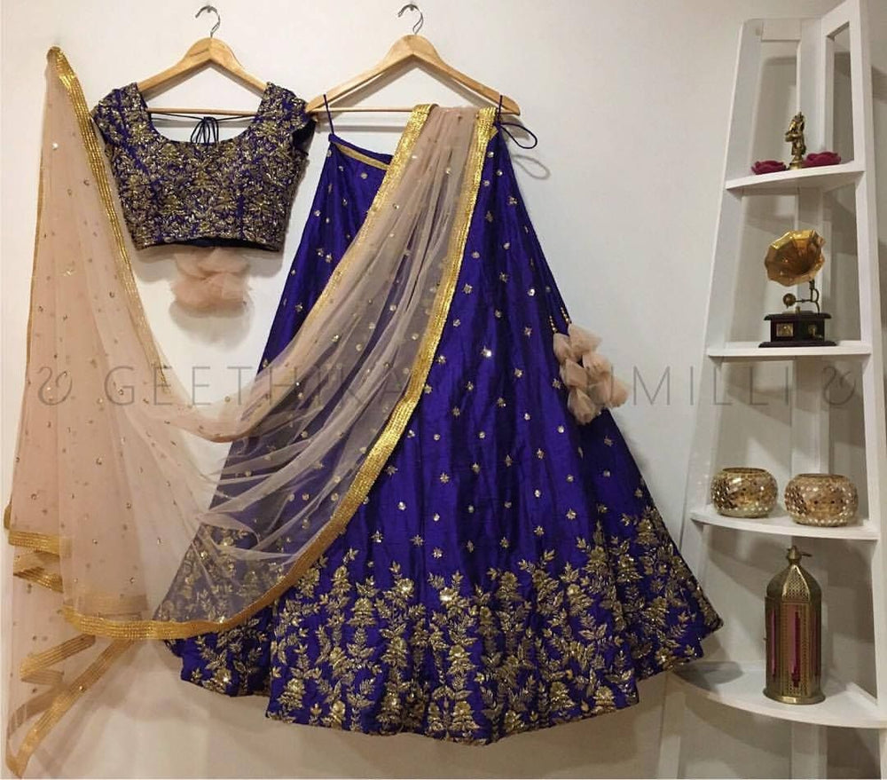 Blue Heavy Malay Silk Coding Zari Embrodari Work Lehenga