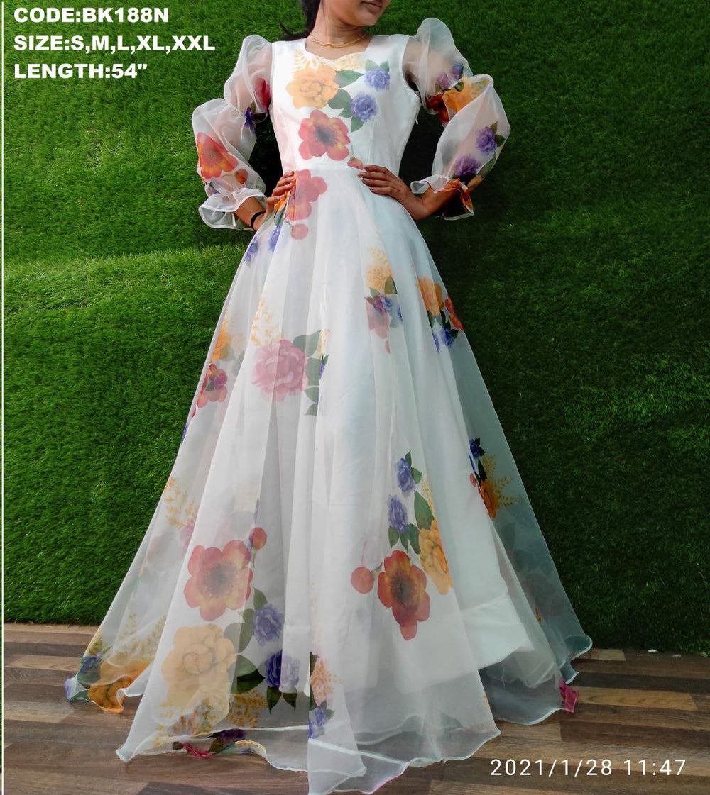 Most Demanding Organza Fabric with full lining Dress