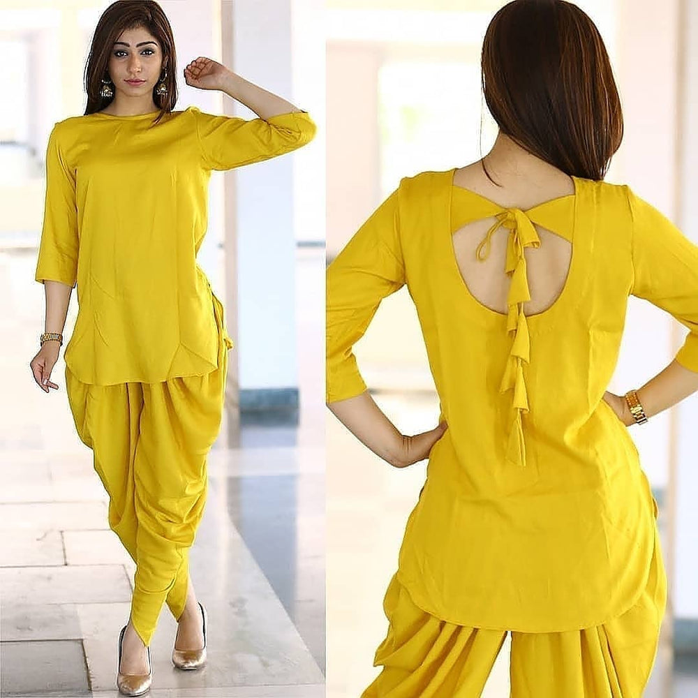 New Trending Yellow Dhoti Suit