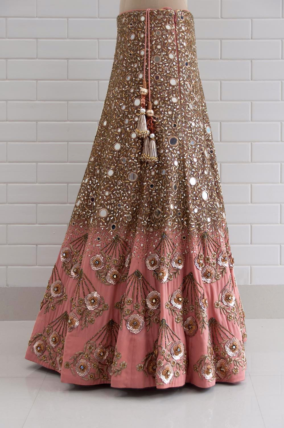 Canyon Clay Drape Sleeves with Jaal embroidery Blouse and Lehenga