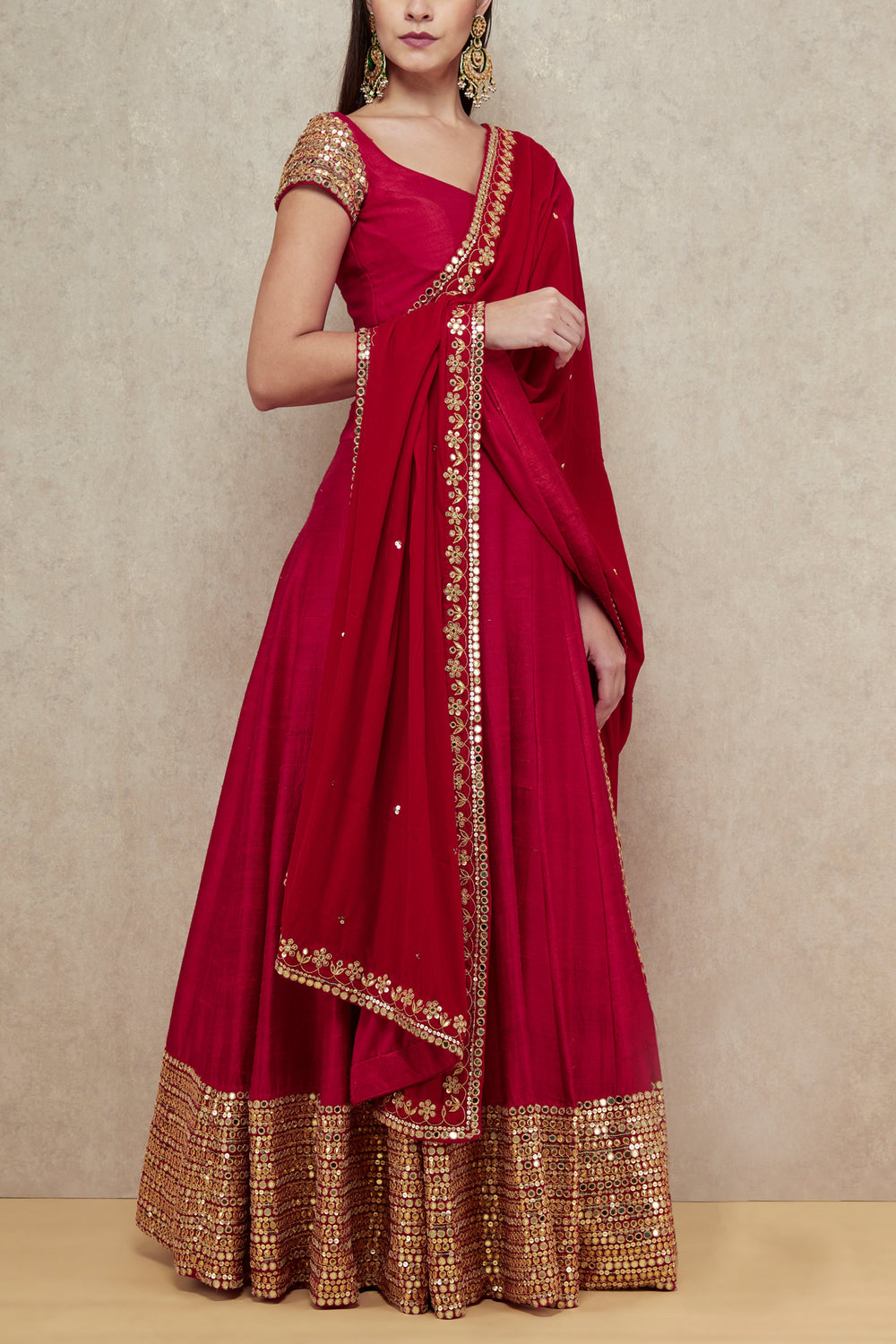 gorgeous red embroidered Gown with embroidered borders