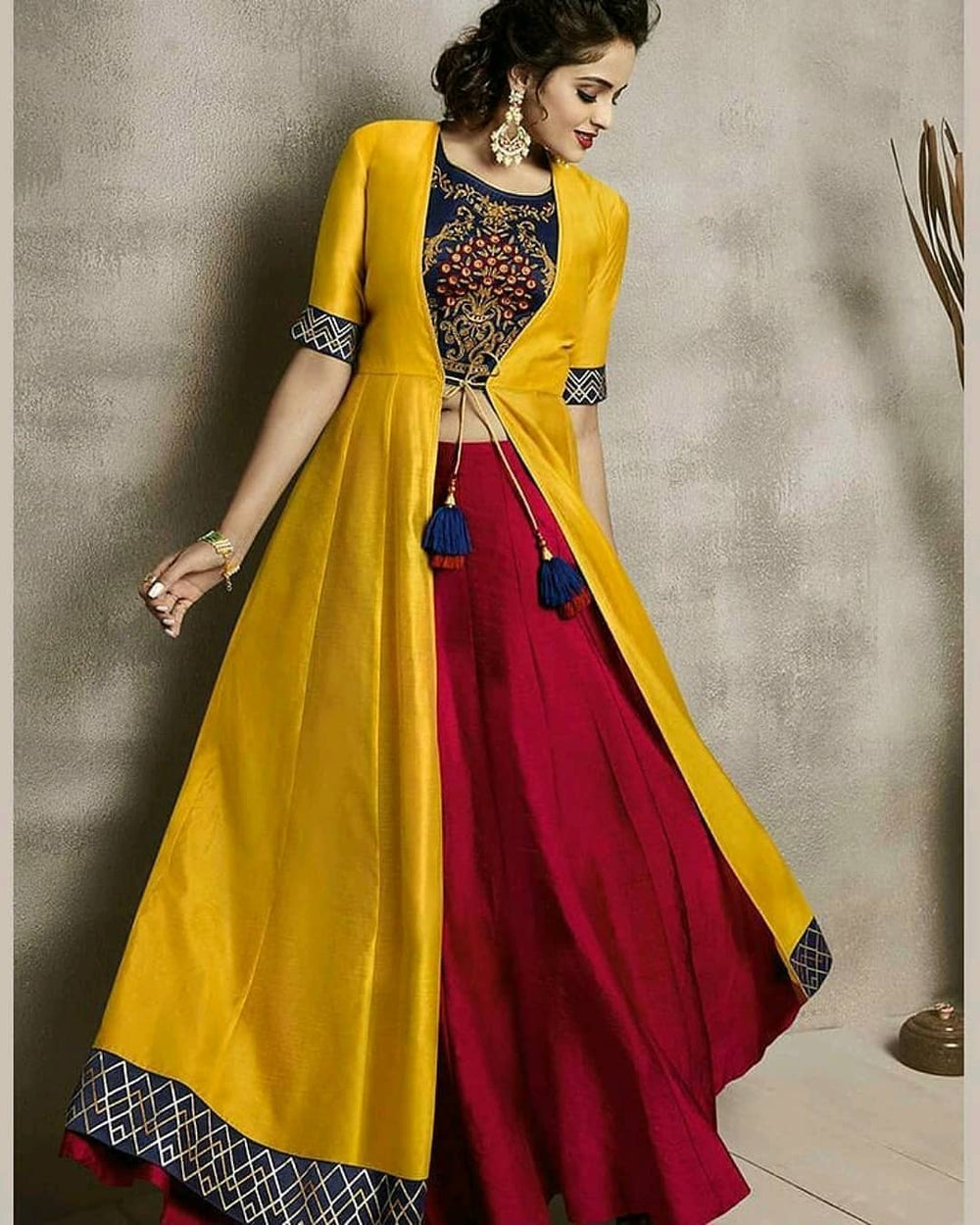 New Gorgeous Yellow Satin Bangalory Silk With Red Lehenga