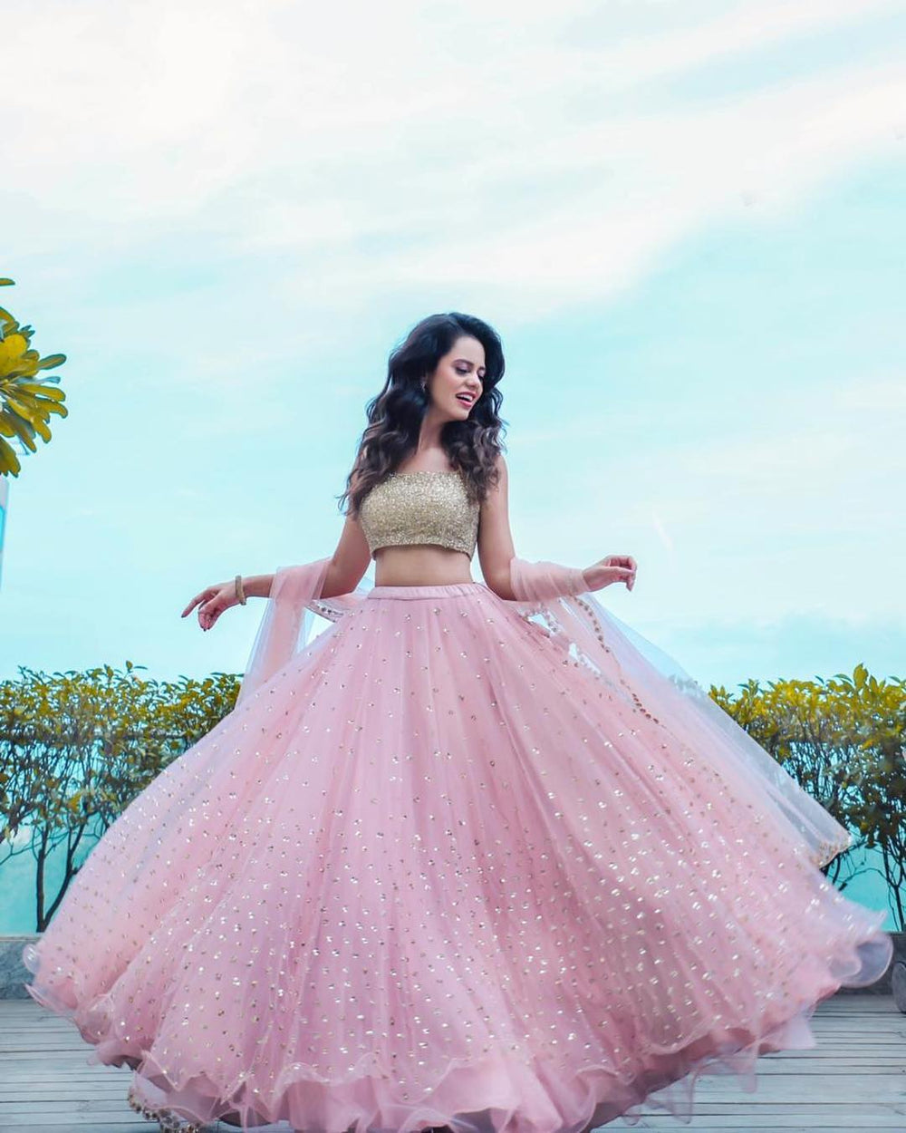 Amazing Pink Color Designer Party Wear Soft Net Base Lehenga Choli