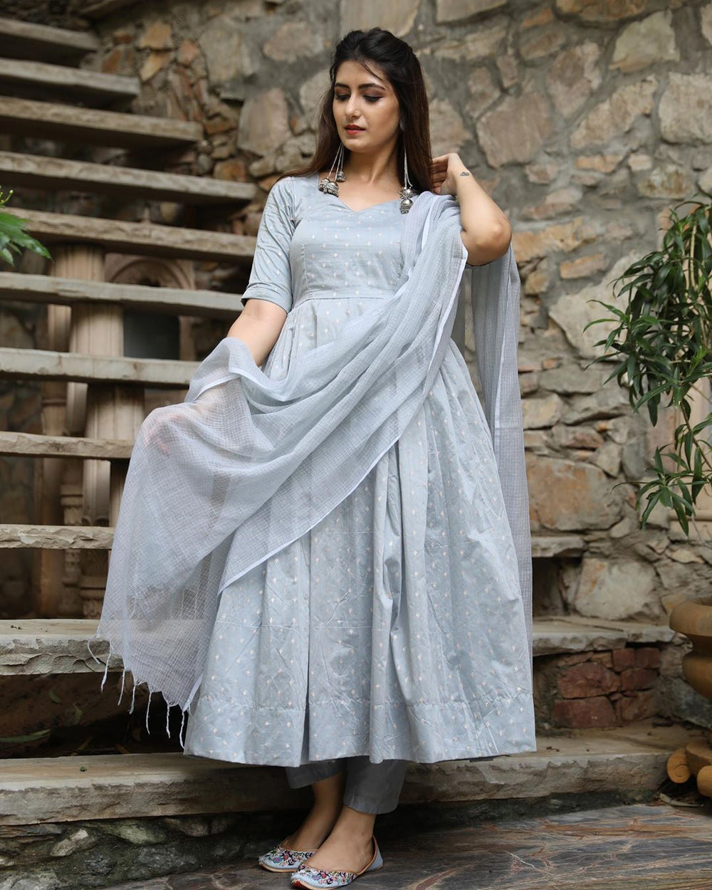 Grey Kurta set with Dupatta