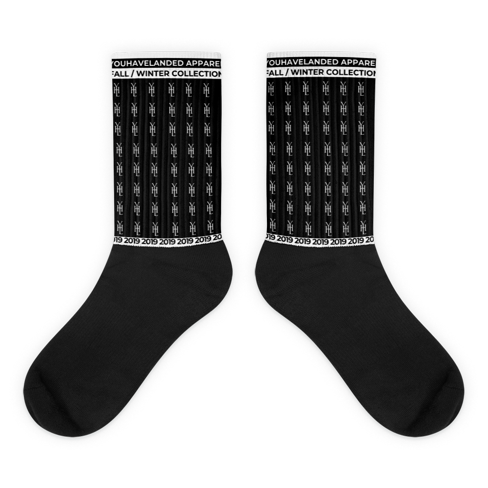 Black All-Over Print Logo Socks - YOUHAVELANDED