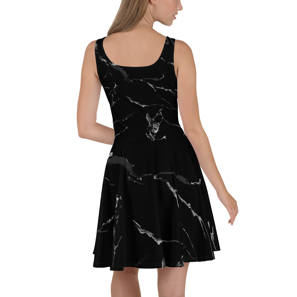 Black Marble Skater Dress - YOUHAVELANDED