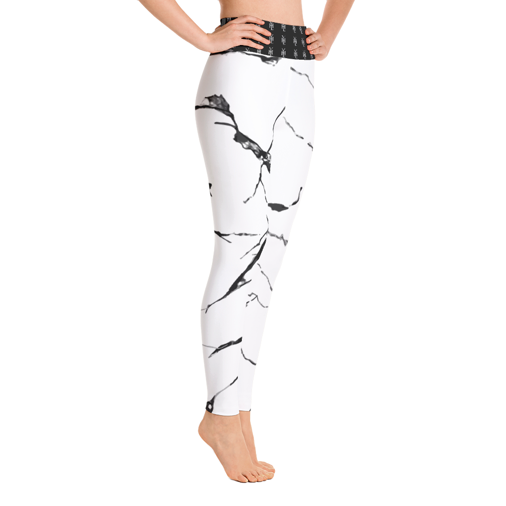 White Marble Yoga Leggings - YOUHAVELANDED