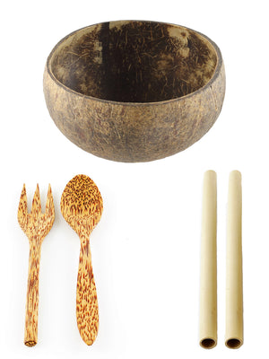 Coco Candle Co - coconut bowl, cutlery and bamboo straw value pack