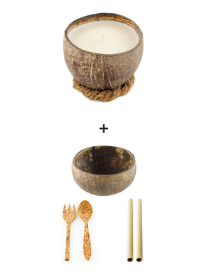 Coco Candle Co - coconut shell candle, coconut bowl, cutlery and bamboo straw value pack