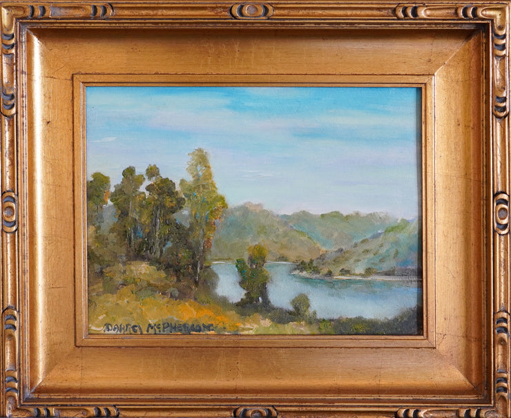 Framed Oil Painting of Millard's view of Lake Hodges