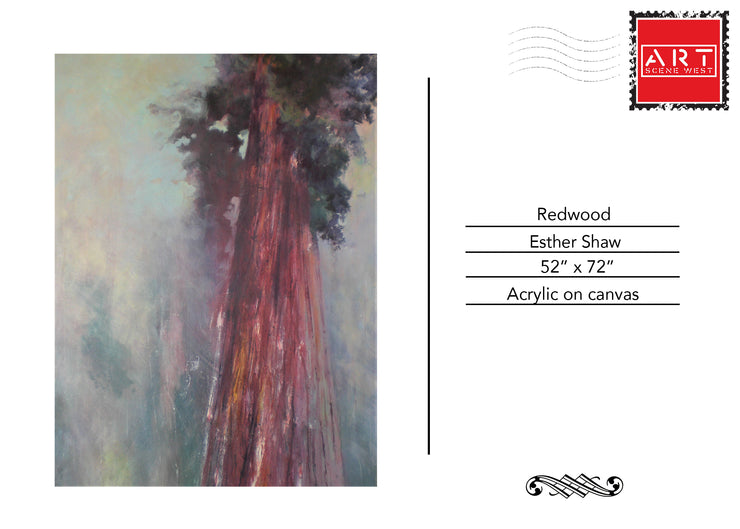 Large Acrylic painting of a Redwood, Postcard view