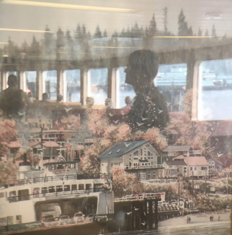Photograph of a reflection on the ferry in Seattle