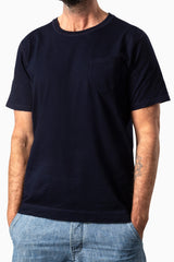 Curved Pocket Tee Dark Indigo Dyed