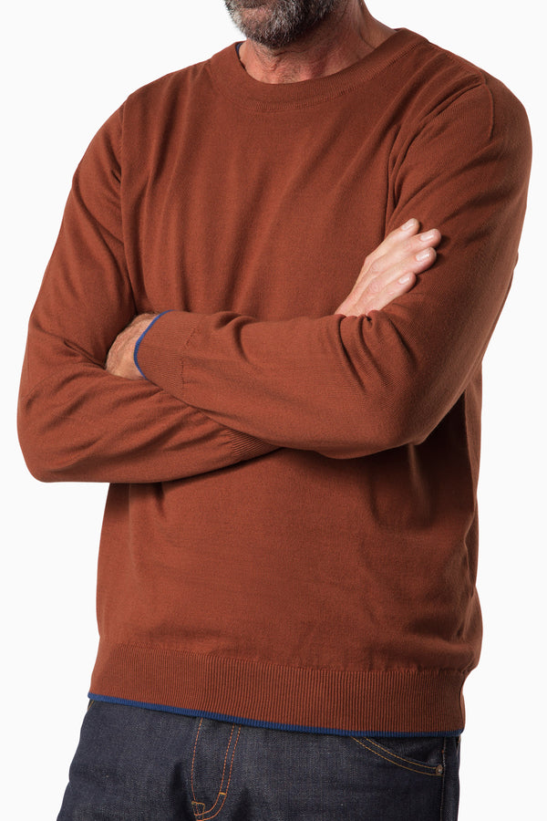 Curved Knit Brown Cotton/Cashmere