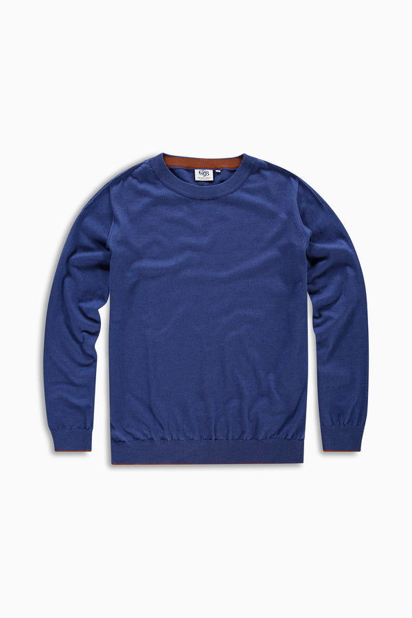 Curved Knit Blue Cotton/Cashmere