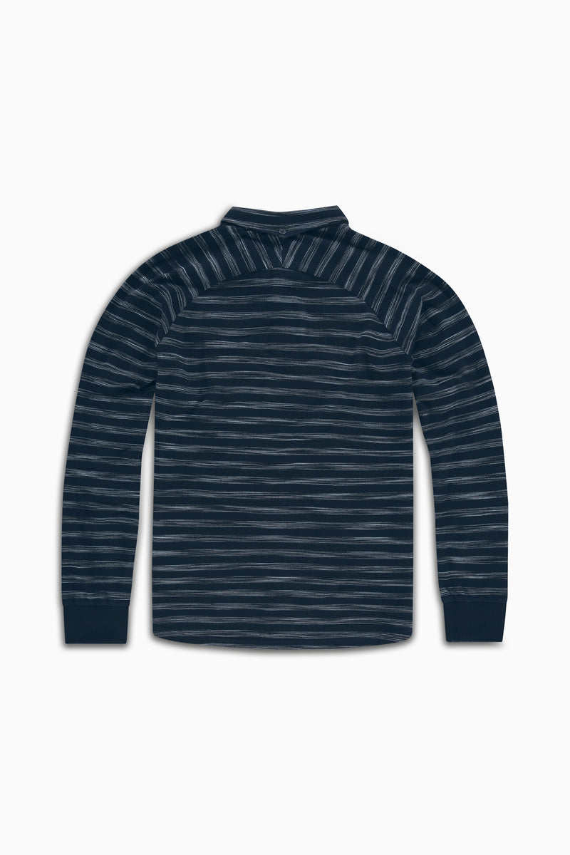 Polo Curved L/S Indigo Stripe