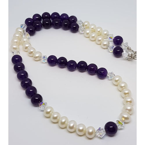 Amethyst and Grade AA Pearl Necklace - Necklace