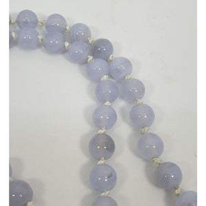 Blue lace agate hand knotted necklace - Necklace