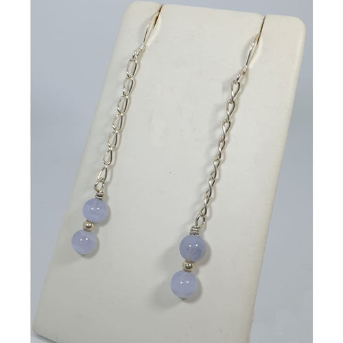 Blue lace agate long earrings - Earrings