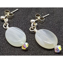 Load image into Gallery viewer, Botswana agates and Swarovski crystal earrings - Earrings
