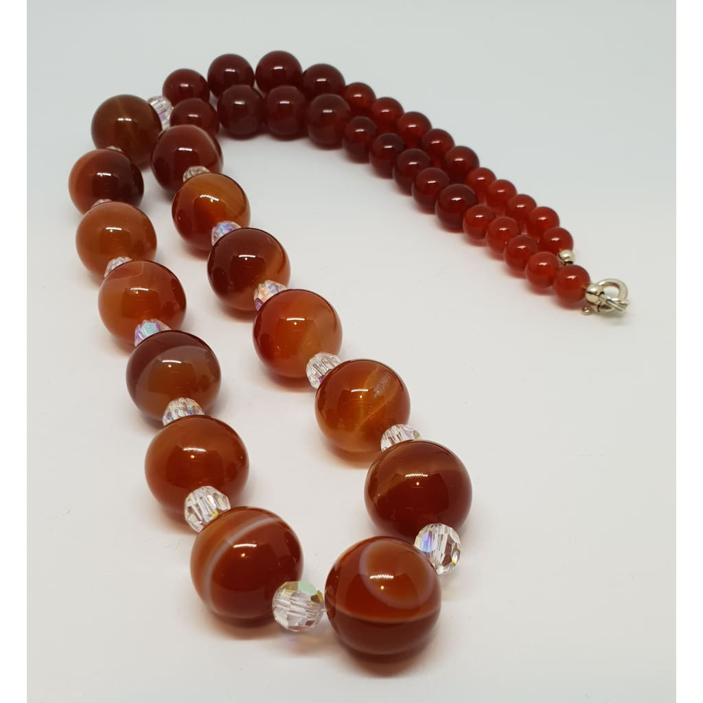 Carnelian and Austrian crystal necklace - Necklace