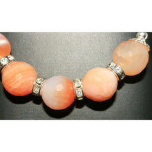 Load image into Gallery viewer, Faceted peach crackled agate necklace - Necklace