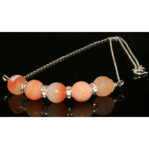 Faceted peach crackled agate necklace - Necklace