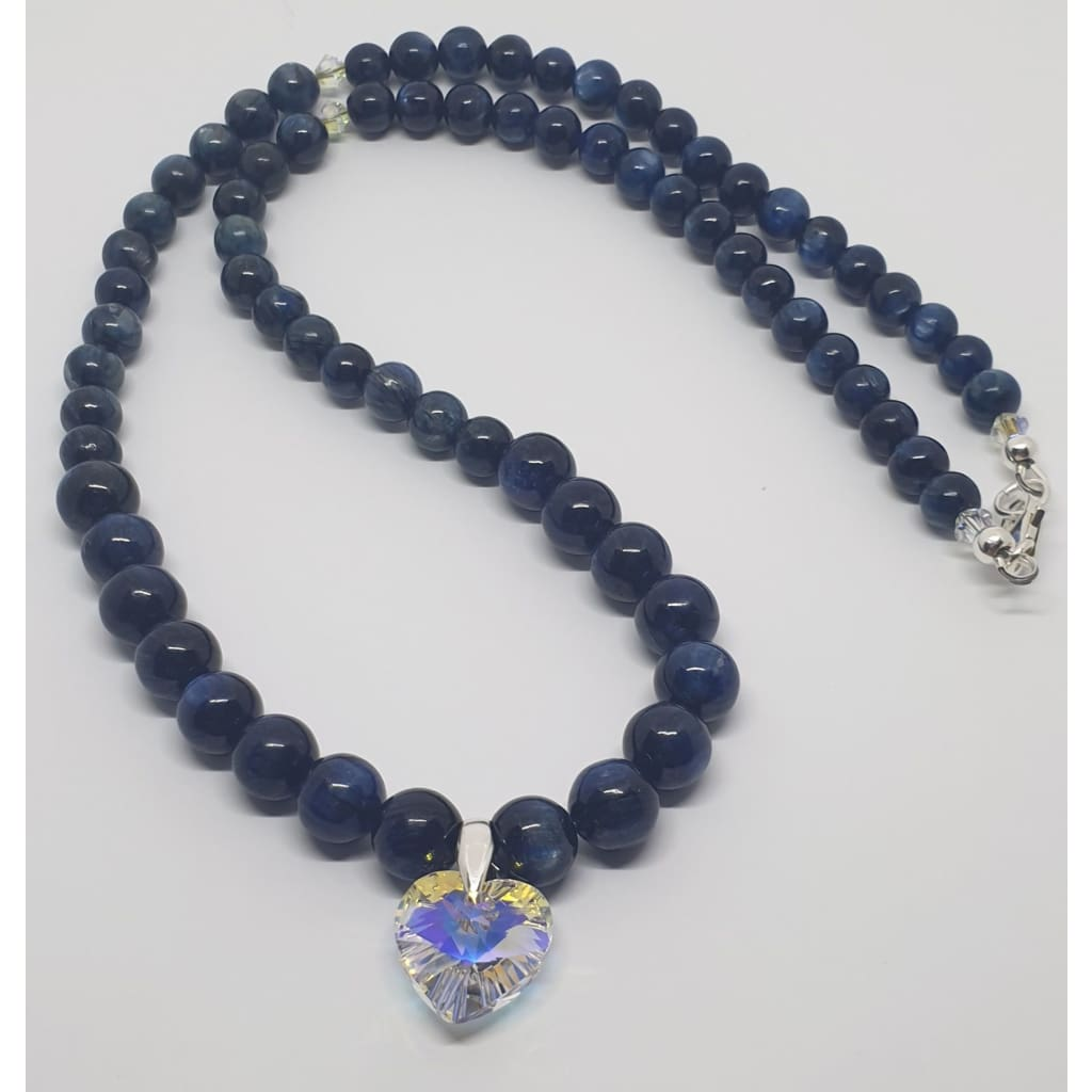 Kyanite and Swarovski heart pendant necklace - Necklace