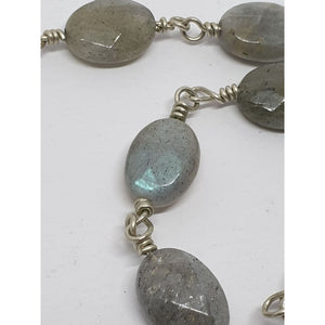 Labradorite faceted ovals on hand turned silver pins - Necklace