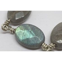 Load image into Gallery viewer, Labradorite faceted ovals on hand turned silver pins - Necklace