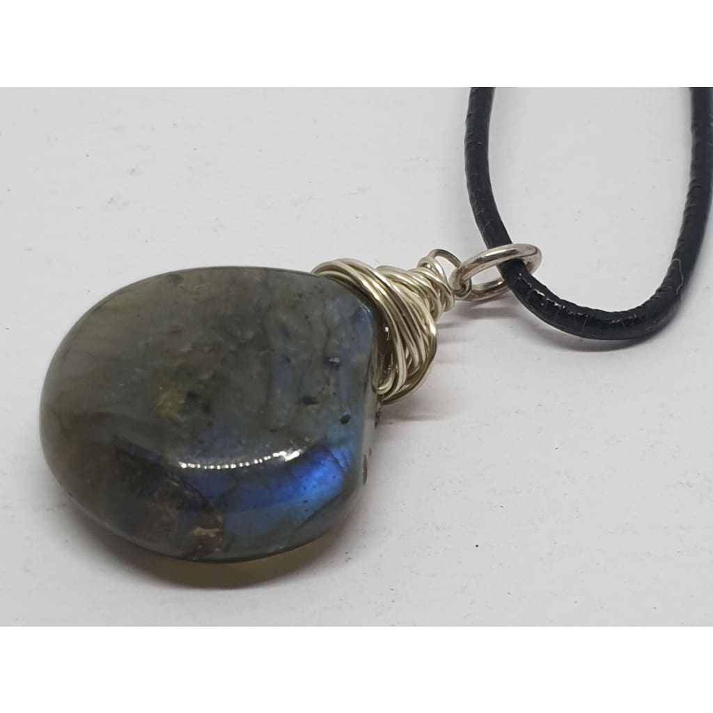 Labradorite hand wire wrapped on leather cord - Necklace