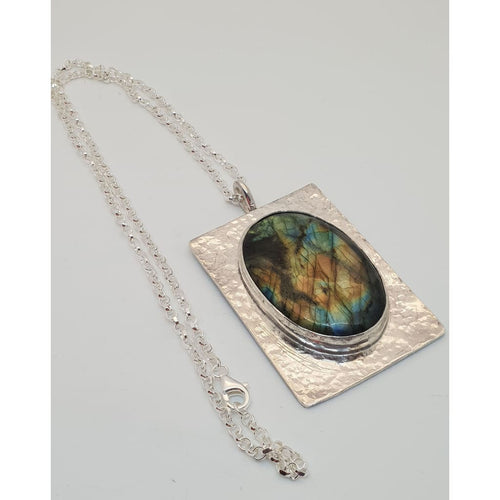 Labradorite Pendant hand set in hallmarked sterling silver - Necklace
