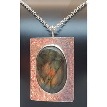 Load image into Gallery viewer, Labradorite Pendant hand set in hallmarked sterling silver - Necklace