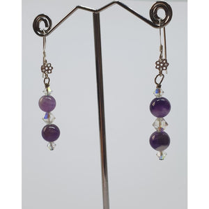 Sage Amethyst and Swarovski earrings - Earrings
