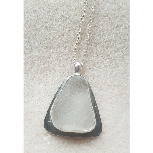 Seaglass in hallmarked sterling silver handmade setting - Necklace