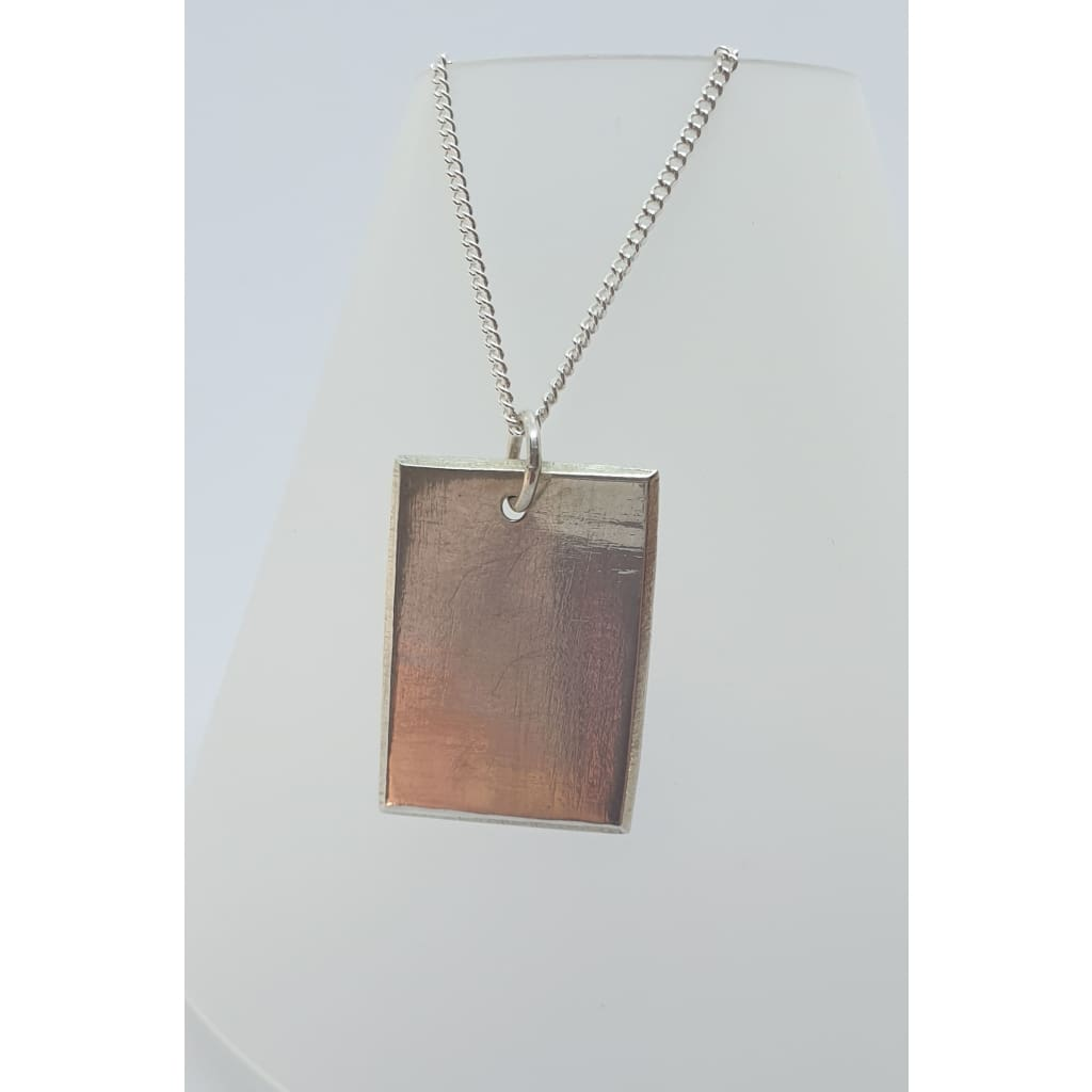 Sterling silver plain dog tag necklace