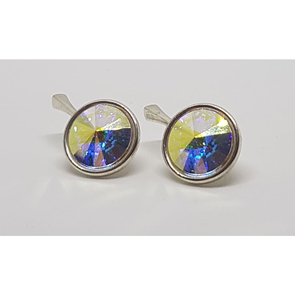 Sterling Silver Swarovski Round Crystal AB earrings