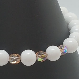 White quartz and rosaline crystals bracelet - Bracelets