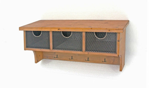 Brown Rustic Wooden Wall Shelf with 3 Drawers and Hooks
