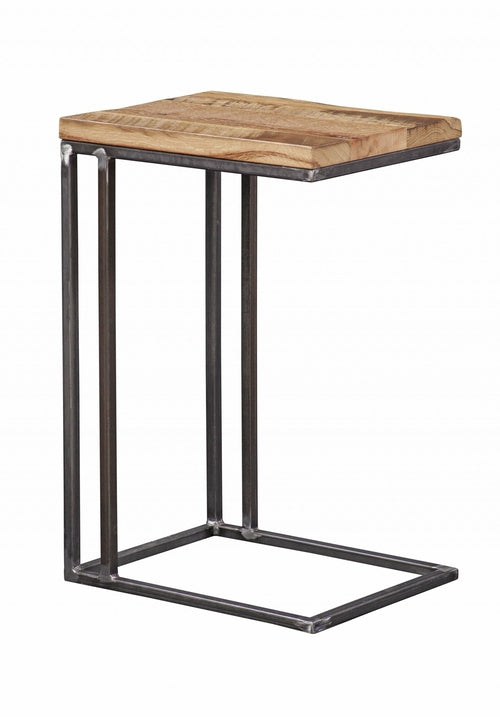 Contemporary Industrial Natural Oak And Steel Side Table