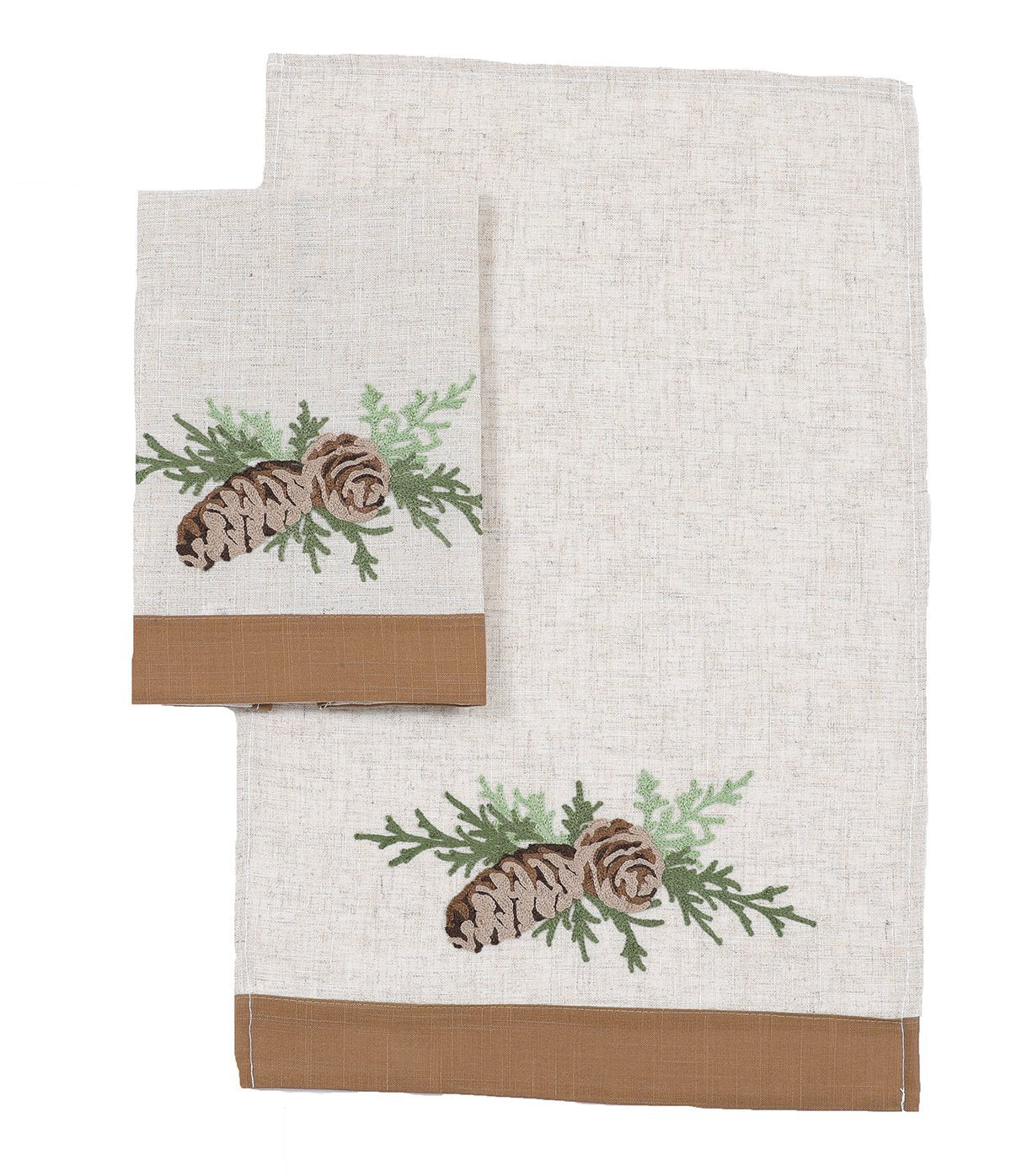 XD19882-Winter Pine Cones & Branches Crewel Embroidered Decorative