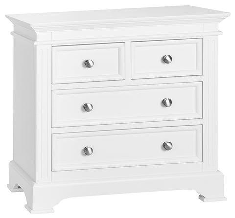Philippe White Chest of Drawers, 2 Over 2 Drawers