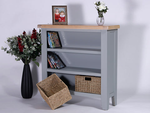 Derbyshire Grey Bookcase, Small, Wide with 2 Baskets