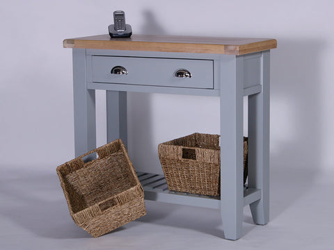 Derbyshire Grey Console Table with 1 Drawer and 2 Baskets